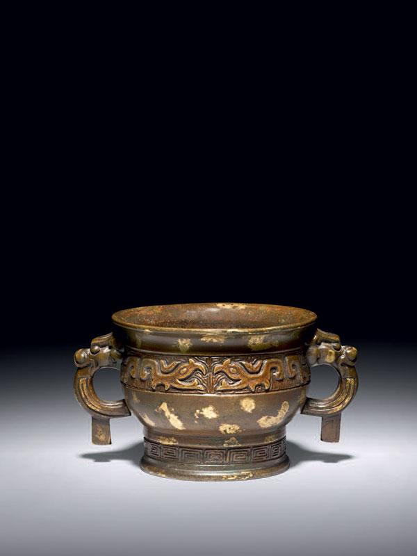 Bronze incense burner with gold splashes