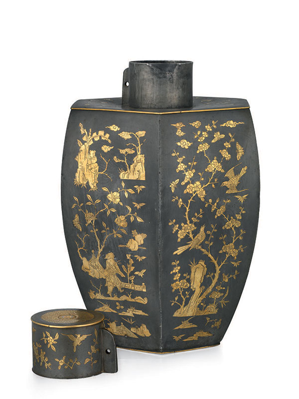 Pewter and gilt tea canister