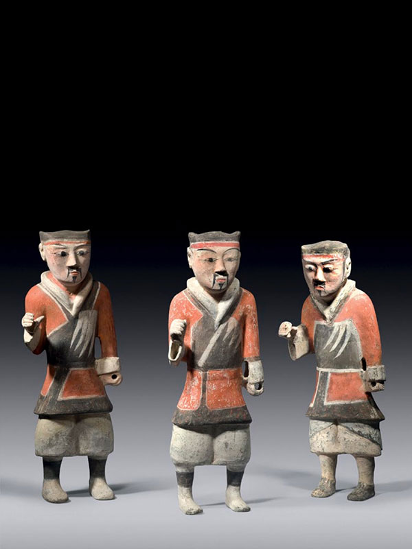 Six pottery figures of warriors