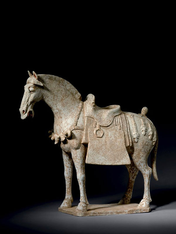 White pottery caparisoned horse