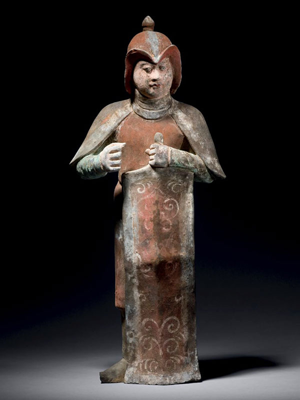 Pottery warrior holding a shield