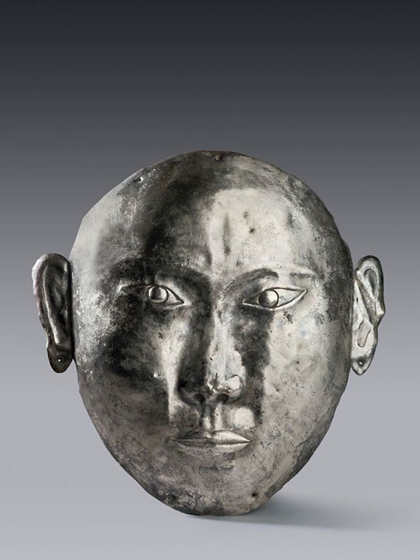 Silver funerary mask