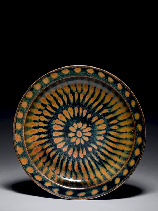 Cizhou stoneware dish with splashed decoration