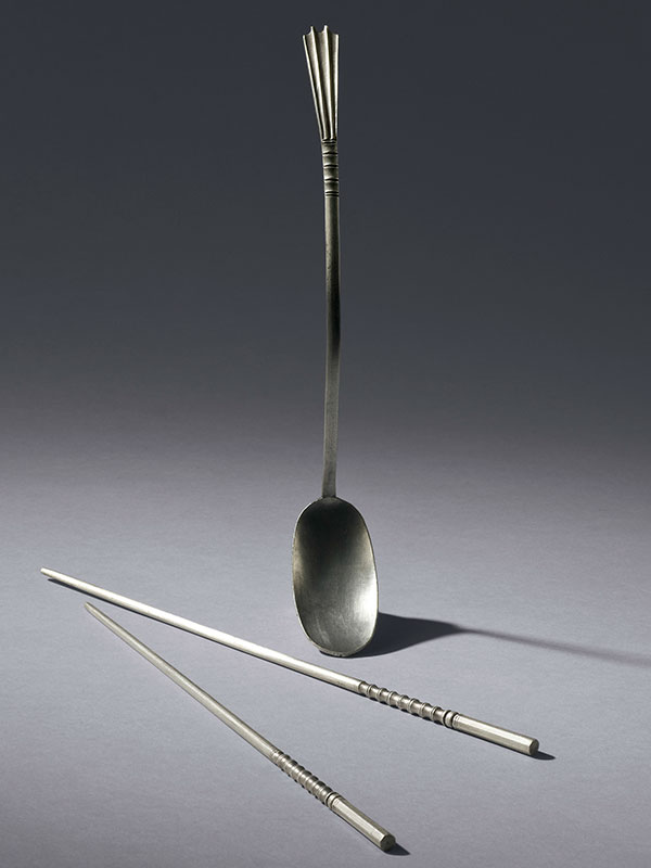 Silver chopsticks and spoon