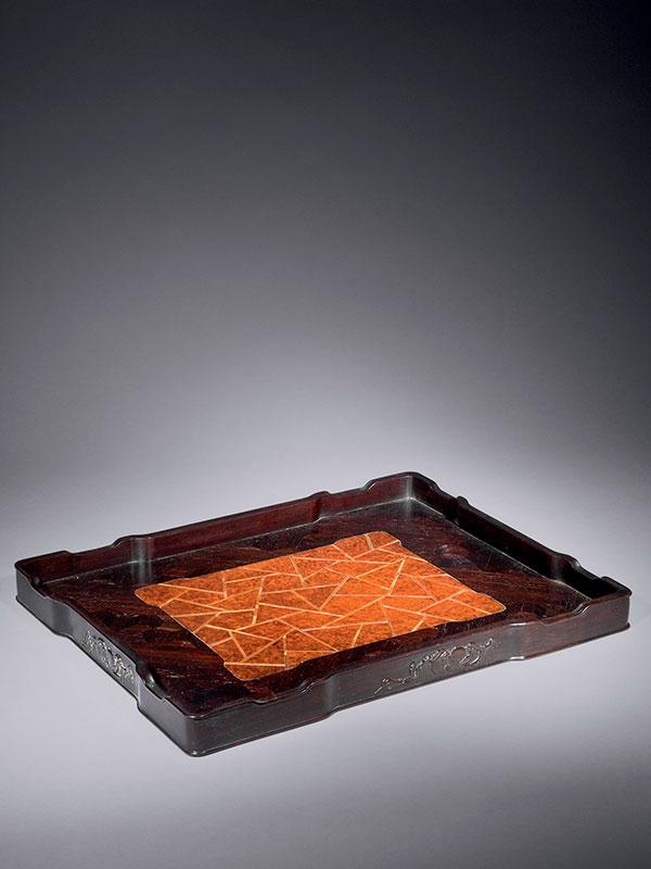 <em>Zitan</em> and burl wood scholar's tray