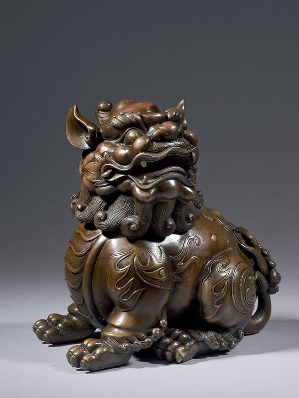 Bronze incense burner in the form of a seated mythical animal