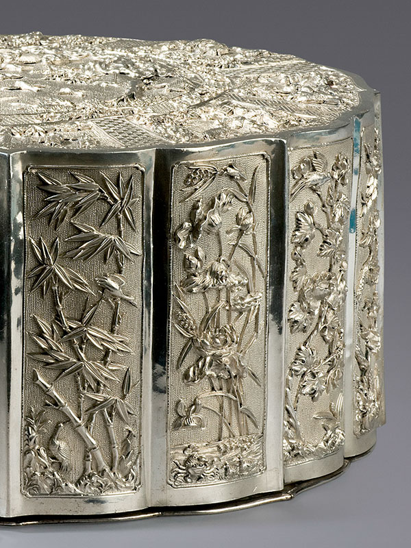 Silver covered box of foliate form