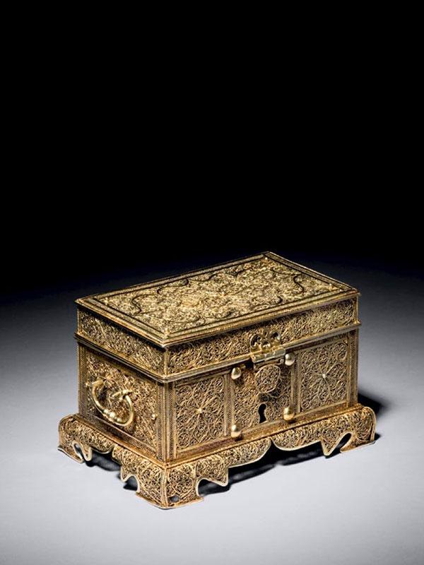 Silver gilt filigree casket