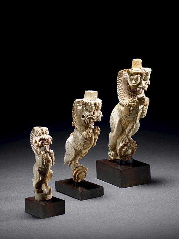 Three ivory yali architectural brackets