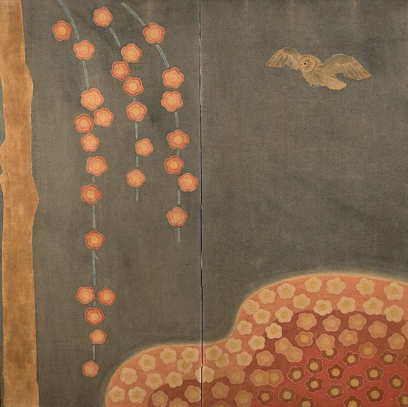 Two Fold Paper Screen By Hannya Yuko (1898 -1980)