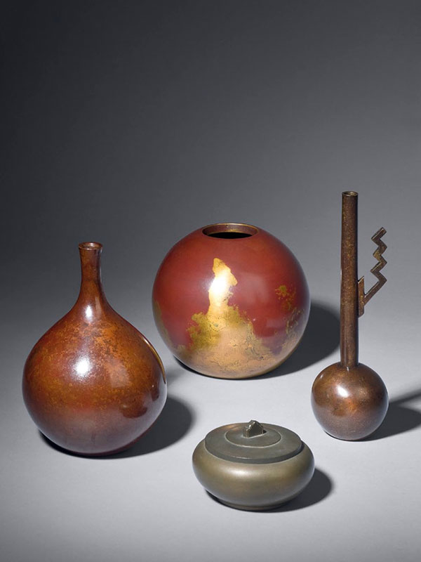 Bronze Vases, Box And Cover