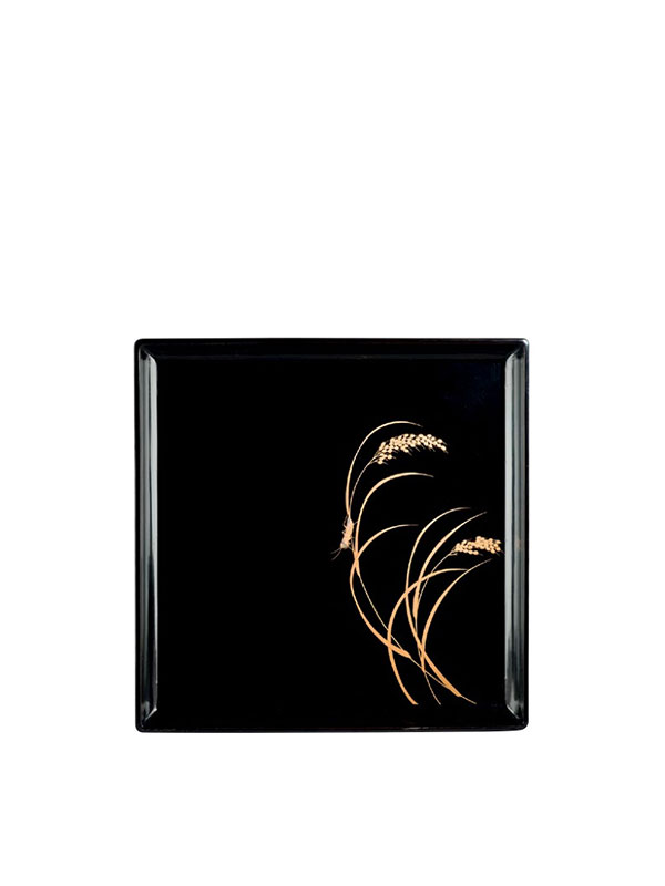 Black Lacquer Tray With Gold And Mother-Of-Pearl Decoration
