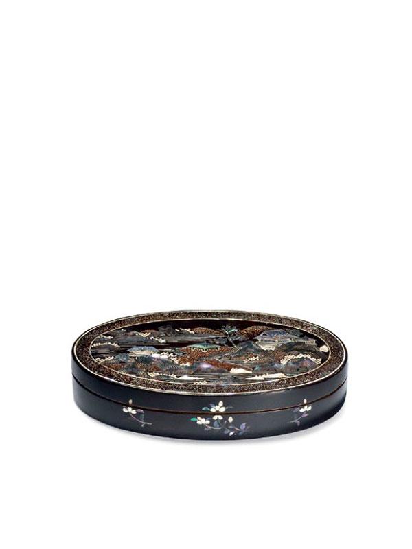 Kyoto-Nagasaki Style Lacquered Tobacco Box on Copper