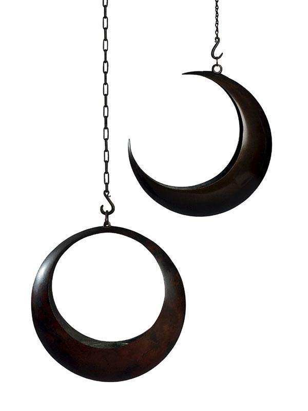 Two Bronze Moon-Shaped Ikebana Hanging Baskets