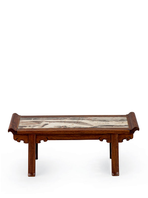 Miniature <em>huanghuali</em> table with marble top