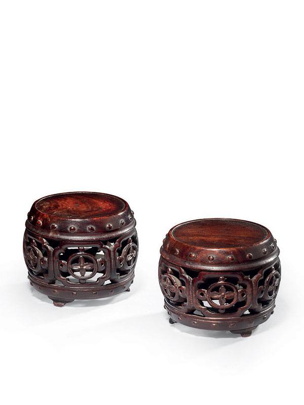 Two miniature hardwood stools