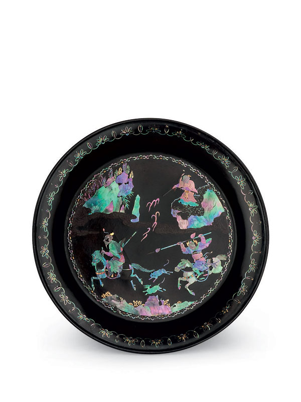 Two mother-of-pearl inlaid lacquer dishes