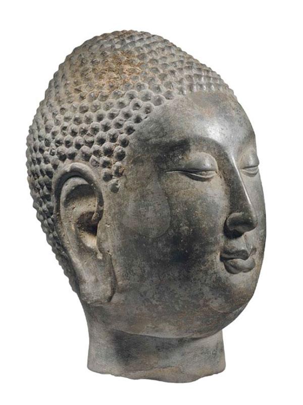 Limestone head of the Buddha