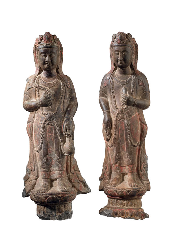 Two limestone sculptures of Bodhisattva