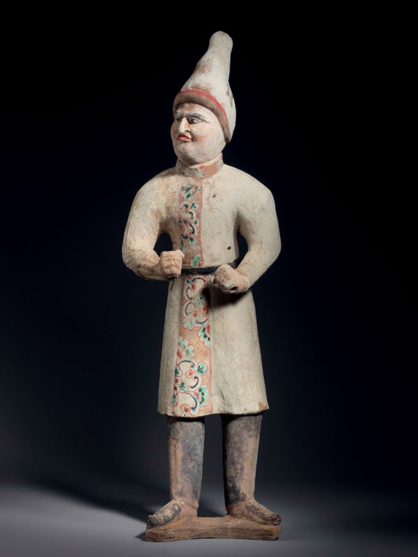Pottery figure of a foreign groom with a pointed hat