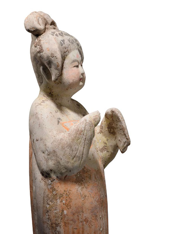 Painted pottery figure of a court lady