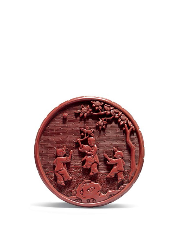 Lacquer circular box with boys at play