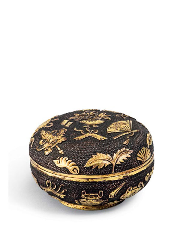Gilded bronze incense powder box