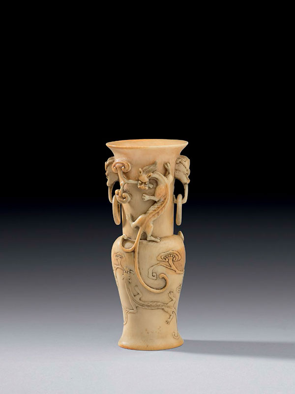 Ivory vase carved with chi dragons