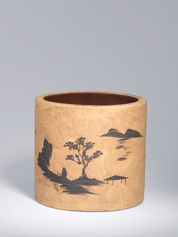 Yixingpottery brush pot of cylindrical form