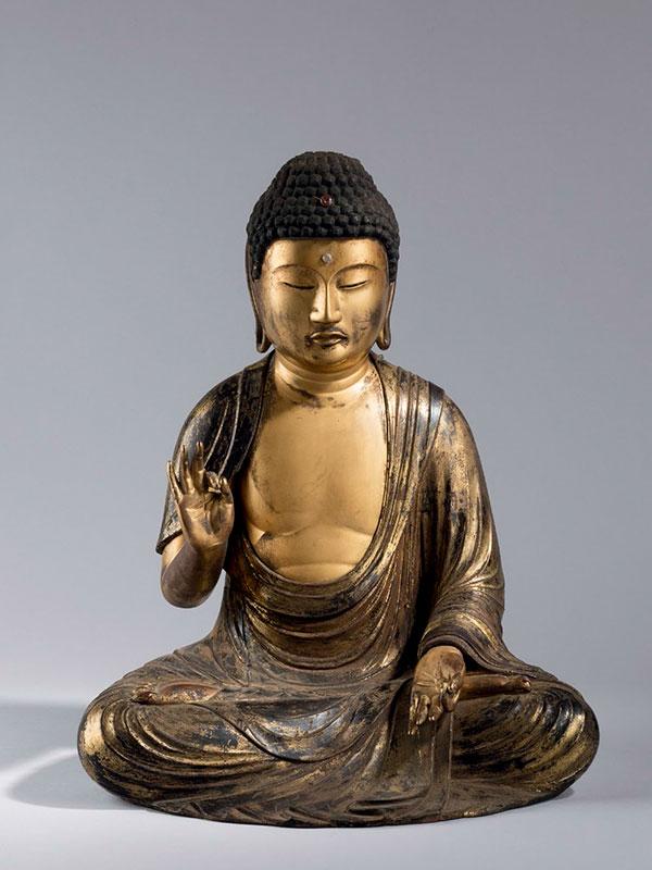Gilded wood figure of the Buddha Amida Nyorai
