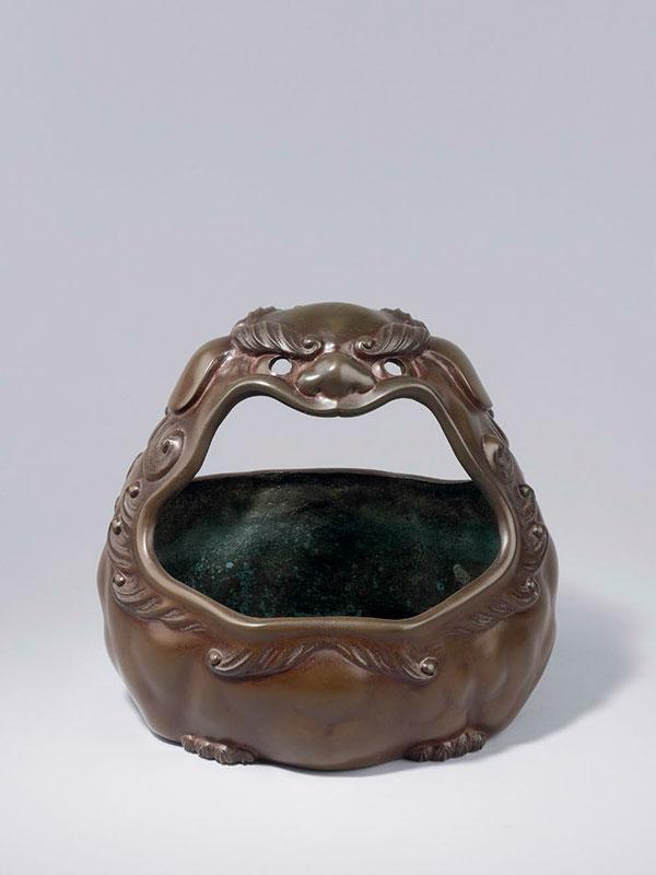 Bronze lion mask hand warmer by Sakai Kozan