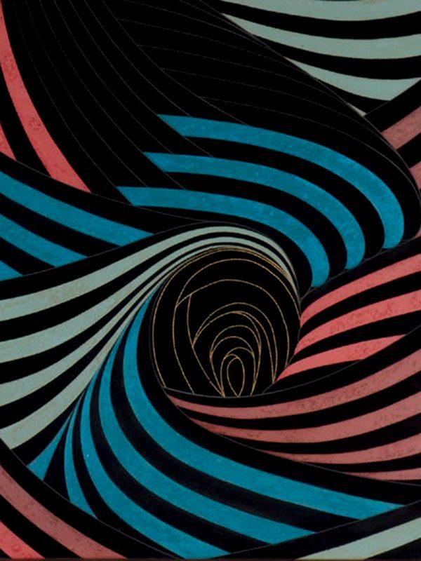 Lacquer panel 'Crashing Waves' by Takuji Rikimaru (1931-2006)