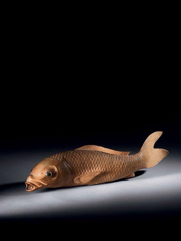 Boxwood okimono of a carp by Nishikawa Suketsugu