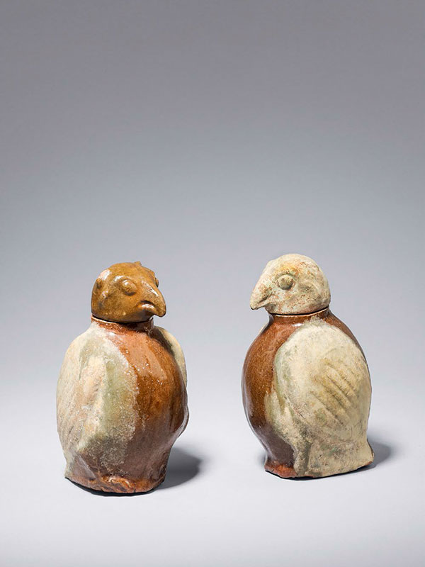 Pair of owl-shaped pottery jars