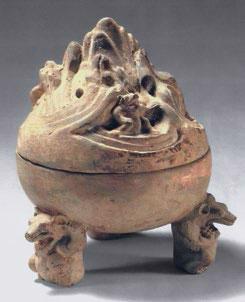 Pottery incense burner, boshanlu with bear-shaped feet