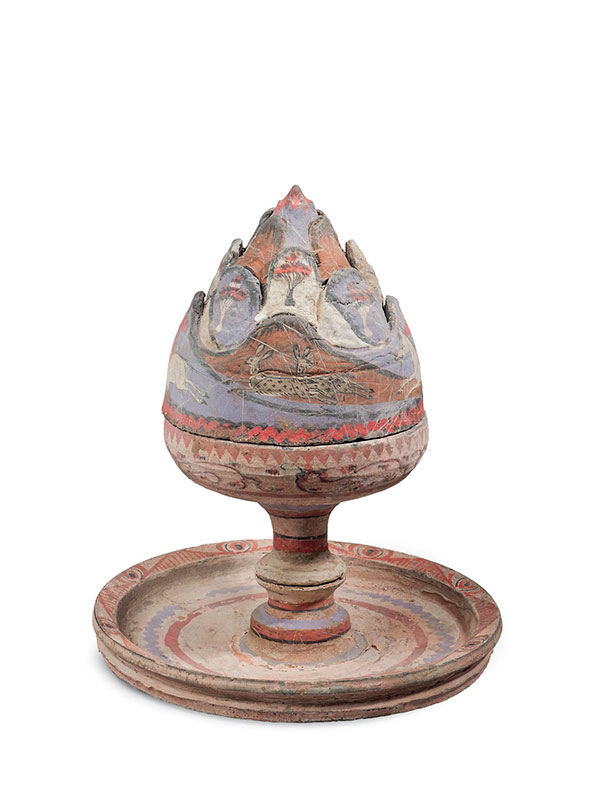 Painted pottery incense burner boshanlu, with hunting scene