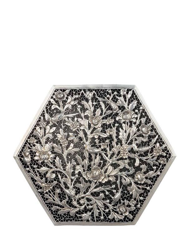 Silver box of hexagonal form