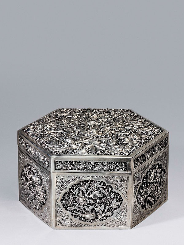 Silver box of hexagonal form