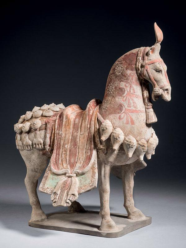 Pottery caparisoned horse