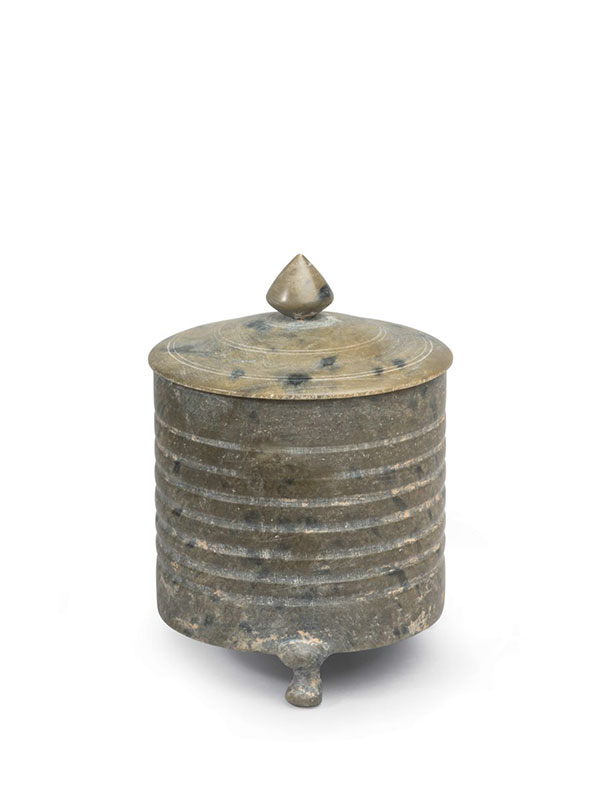 Steatite cylindrical vessel and cover
