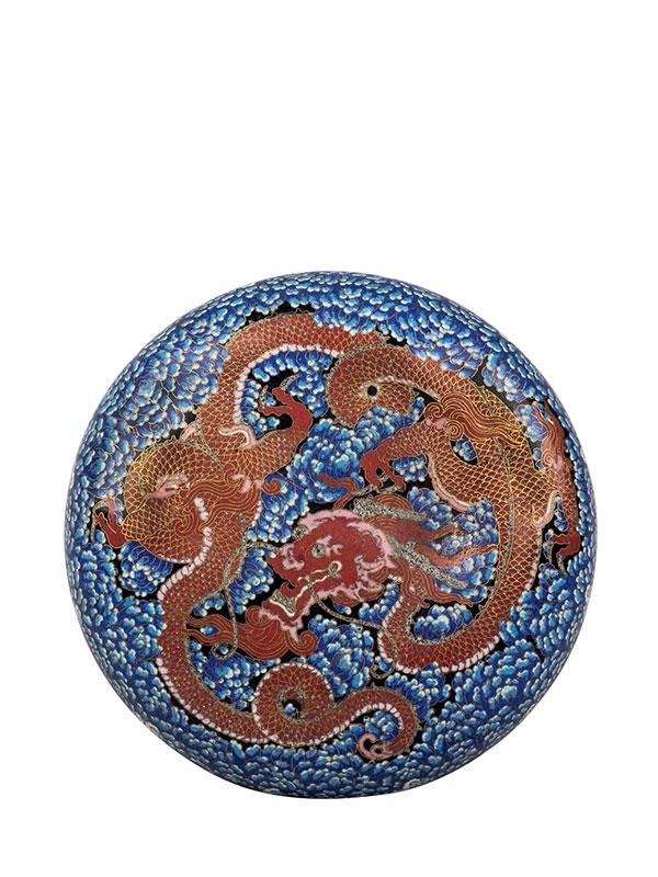 Cloisonné enamel box with dragon motif