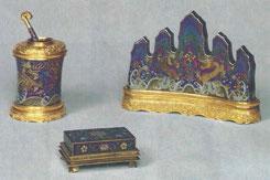 Fig. 1 A set of cloisonné enamel stationery utensils, Palace Museum, Beijing
