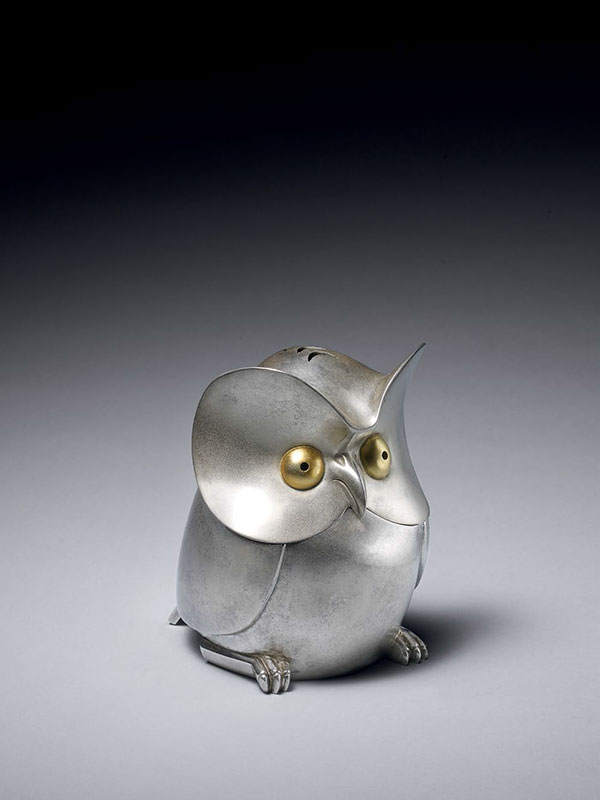 Silver owl incense burner by Katori Masahiko