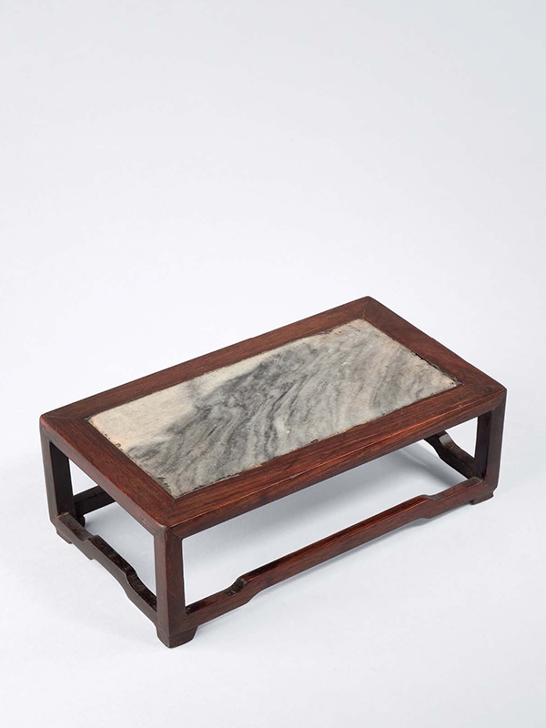 Miniature huanghuali stand with marble top