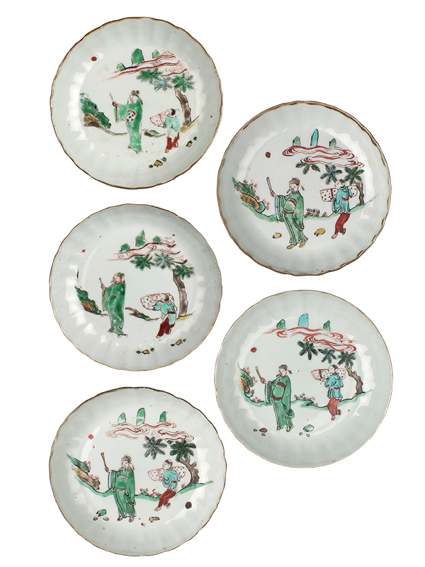 Set of five porcelain Wucai dishes
