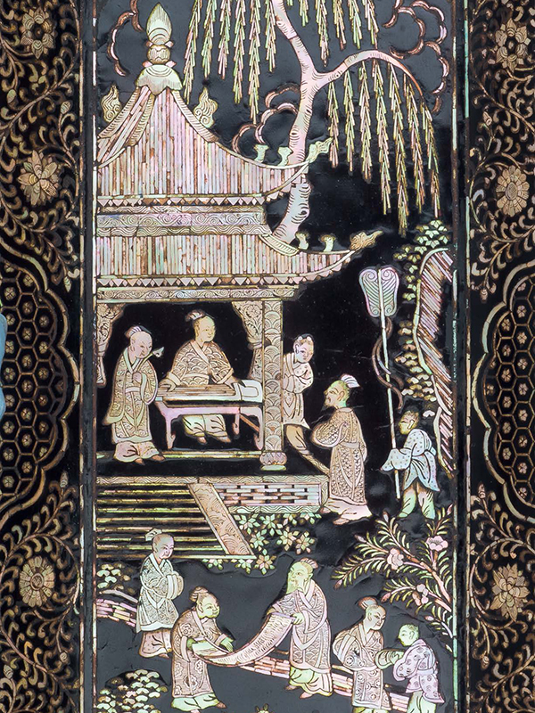 Mother-of-pearl inlaid lacquer tray