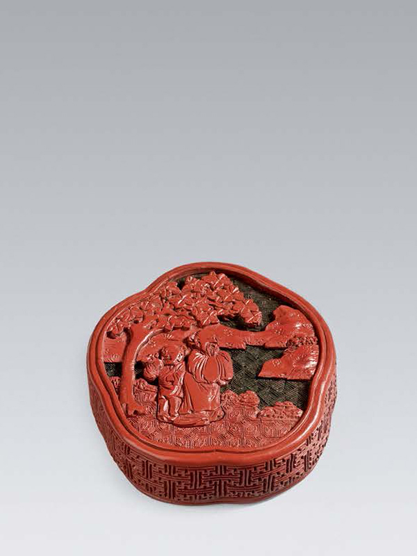 Lacquer box of plum-blossom form