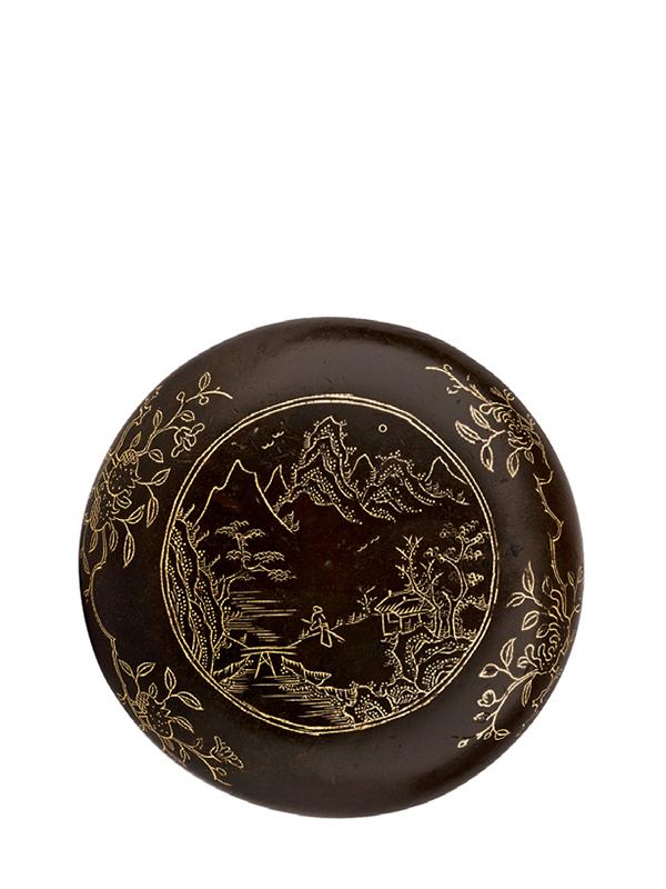Gold-inlaid copper seal paste box