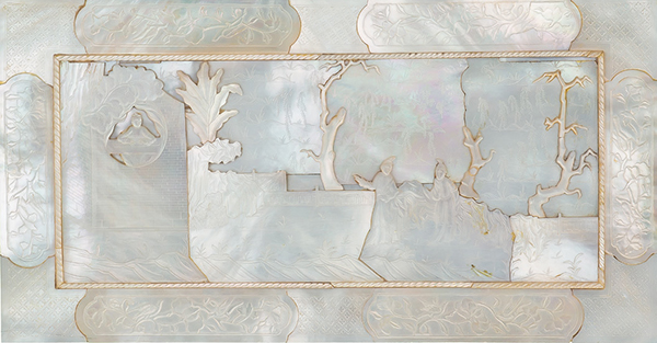 Mother-of-pearl panel with figures in a landscape