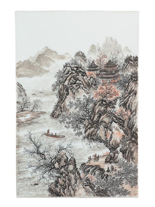 Famille rose porcelain plaque with landscape